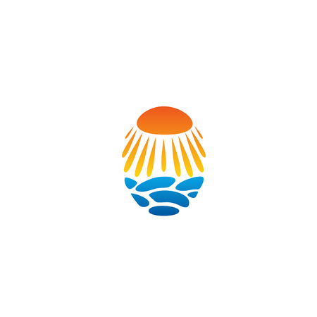 hot stones: Bright sun vector unusual logo. Beach abstract logo. Sun icon isolated. Hot sun, warm beach, orange sun vector isolated illustration on white background. Rays, stones abstract design beach