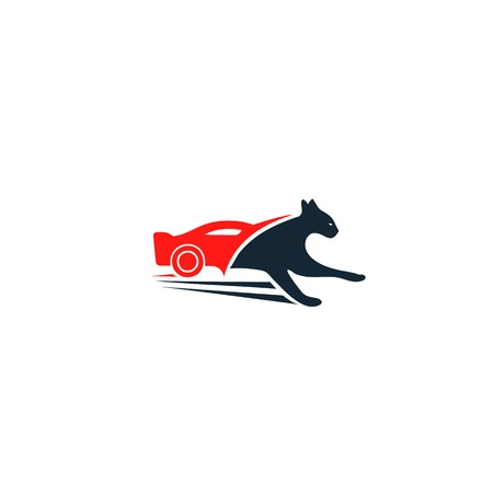 car speed: Stylish black panther vector unusual logo. Red car abstract logo. Panther icon isolated. Sport car, fast panhter, unusual car vector isolated illustration on white background. Speed flat design car