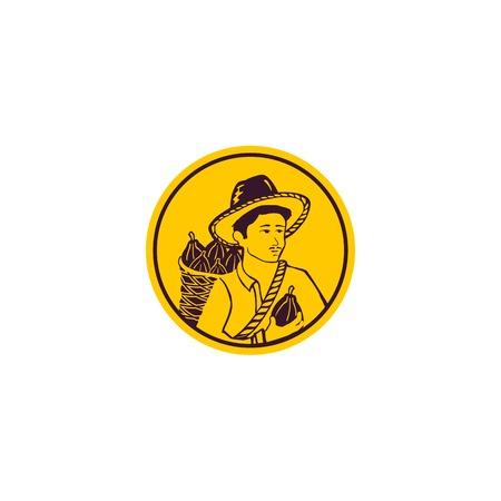 Farmer logo design template. Harvest vector illustration. Isolated human design. Farmer yellow color logo template. Harvest icon. Human abstract logo Illustration
