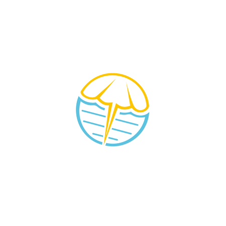 lake shore: Fun, beauty, light beach umbrella. Round, abstract vector shape. Outline, contour, flat, cartoon stylized logotype. Blue, yellow color logo template Sea waves umbrella element logo
