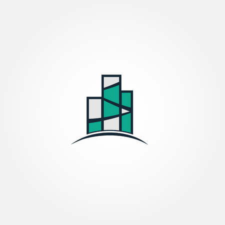 company premises: Real estate vector logo. Turquoise color logo template. Building icon