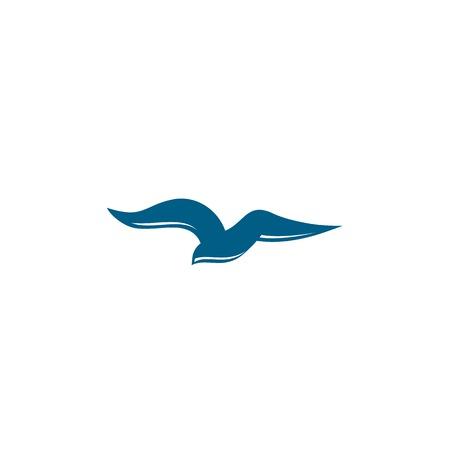 gull: Bird logo design template. Gull vector illustration. Abstract, silhouette, flat stylized bird. Blue color logo template