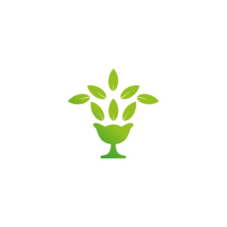 purified water: Fun, beauty, isolated pitcher with a fountain of leaves. Stylish, flat, elegant, classic, royal, luxury, flourish, silhouette old greek Roman stylized logotype Green logo template element Illustration