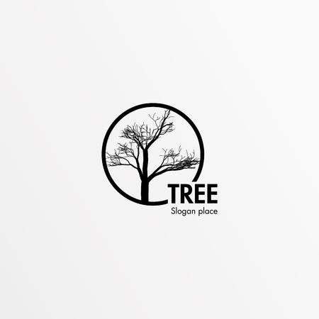 Mystical, isolated, single, beauty, bald tree. Black round frame. Round vector shape. Stylish, minimalistic,lineart,outlinecontour flat round flourish stylized logotype Black color logo template Logo