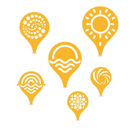 specify: Tag to specify the location of the sunny beach. Vector isolated logos set. Unusual icons collection Illustration