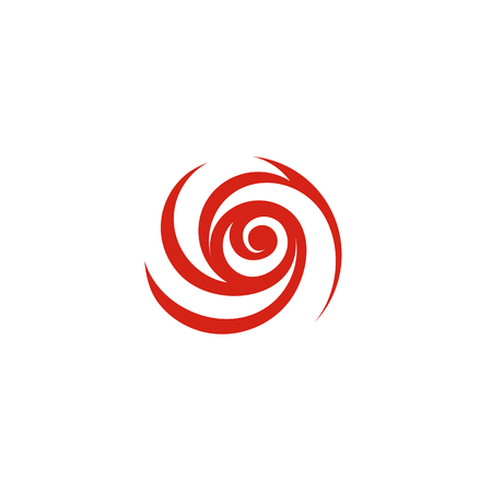 rose: Red flower logotype. Rose unusual logo. Abstract isolated icon