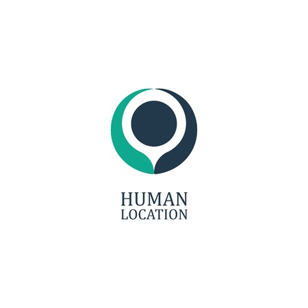 Stylized silhouette of a man with his arms raised. Location logo. Human location icon. Abstract vector illustration