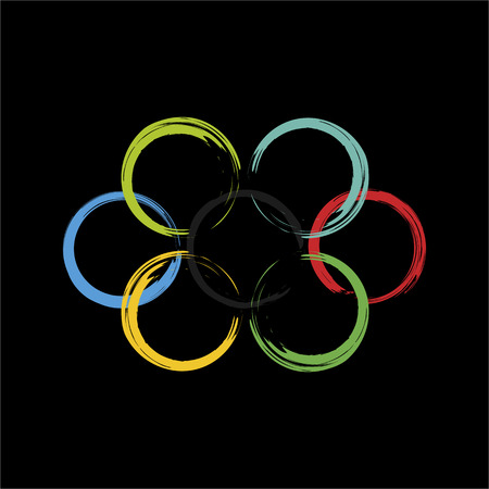 ring road: Four intersecting colored rings with ragged edges on black background. Vector colorful vector logo