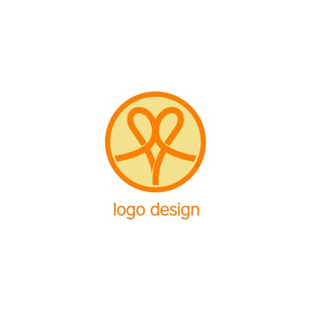 node: Abstract vector people logo. Orange isolated logotype. Monoline abstract. Node icon