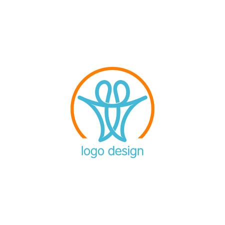 Logotipo de lineart de unión de personas. Logotipo abstracto de los seres humanos Diseño de logotipo vectorial