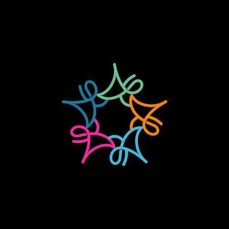 lineart: Colorful cartoon people logo. Unusual lineart icon Illustration