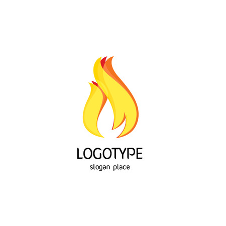 orange color: Isolated vector fire logo. Yellow and orange color flame logotype