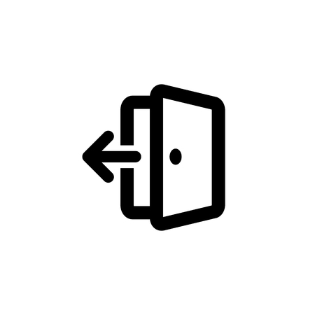 Isolated vector outlined exit icon. Black contoured open door with an arrow on the white background