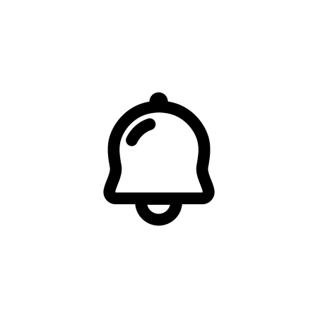 outlined isolated: Isolated black outlined bell icon on the white background. Simple flat contoured sound sign
