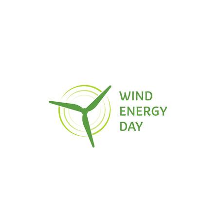 Wind energy day. Green abstract logo. Wind turbine logotype. Logo