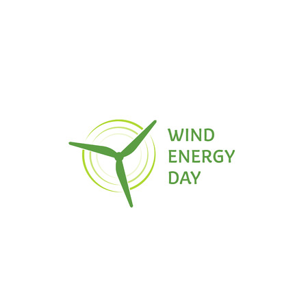 Windenergie Tag. Green abstract Logo. Windturbine Schriftzug. Logo