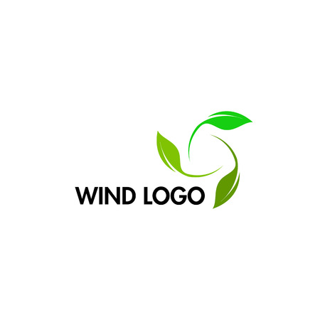 Wind energy day icons. Green abstract logo. Leaf logotype