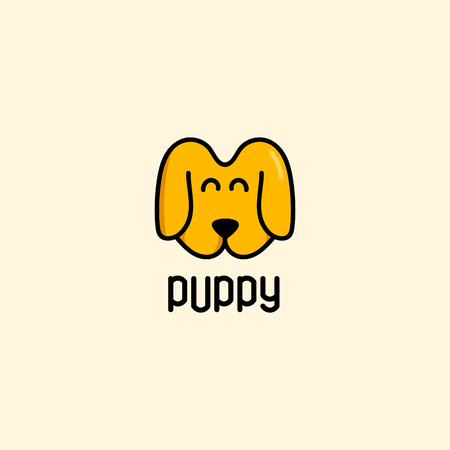 dogie: Isolated brown color vector puppy muzzle logo. Cute cartoon dog logotype.