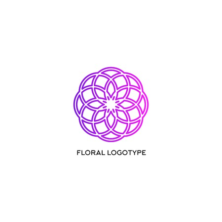 cretive: Isolated abstract floral ornament vector logo. Purple color round shape snowflake christmas element logotype.