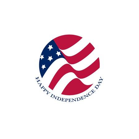 Isolated round shape American flag vector logo. US national symbol on the white background logotype Illustration