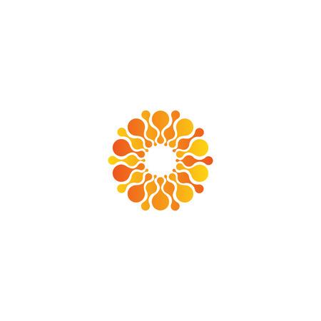 Vector isolated sun logo design template. Abstract dots symbol. Icon round shape Stock Illustratie
