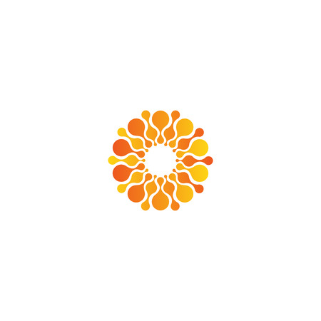 Vector isolated sun logo design template. Abstract dots symbol. Icon round shape Vectores
