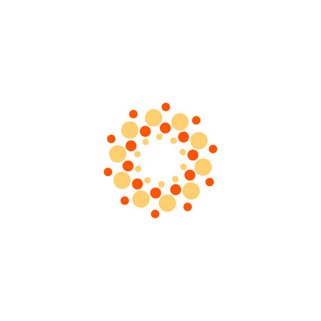 Vector isolated sun logo design template. Abstract dots symbol. Icon round shape Illustration
