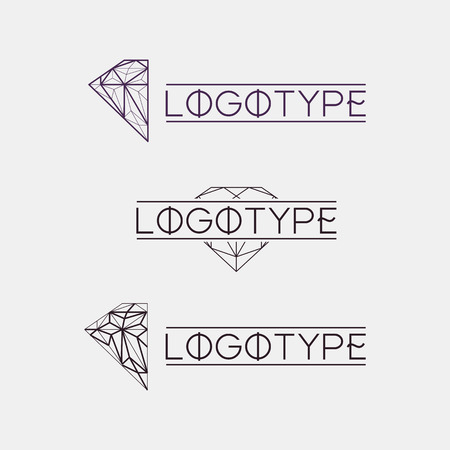 gemstone: Isolated abstract outlined vector logo set. Gemstones logotypes collection. Polygonal diamond jewelry vector illustration. Vintage modern logos set Illustration