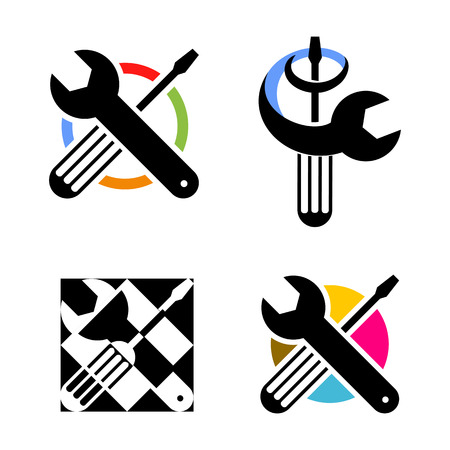 adjustable wrench: Isolated colorful technical tools vector logo. Mechanical equipment logotype. Round shape vector illustration. Adjustable wrench and screwdriver image Illustration