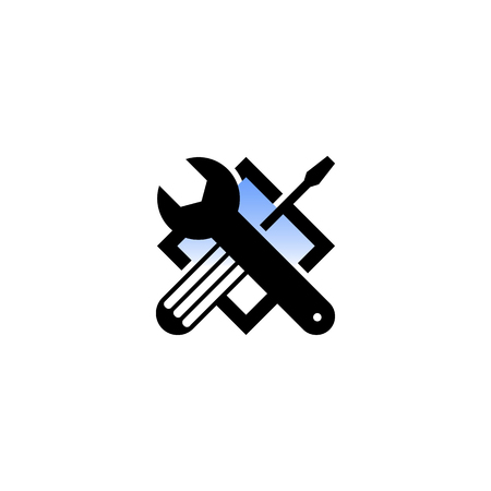 adjustable wrench: Isolated black and blue color technical tools vector logo. Mechanical equipment logotype. Round shape vector illustration. Adjustable wrench and screwdriver image