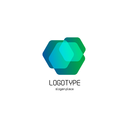 overlays: Isolated abstract hexagons overlays vector logo. Polygonal translucent geometric shape figure logotype on the white background, Blue, green,turquoise color vector illustration
