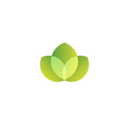 simple purity flowers: Isolated abstract green color leaves vector logo. Water lily element logotype. Natural products vector illustration. Organic cosmetics sign on the white background