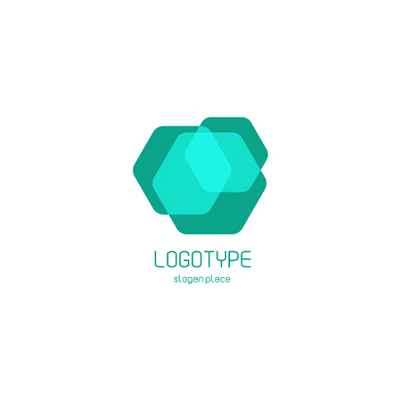 overlays: Isolated abstract hexagons overlays vector logo. Polygonal translucent geometric shape figure logotype on the white background, Blue color vector illustration