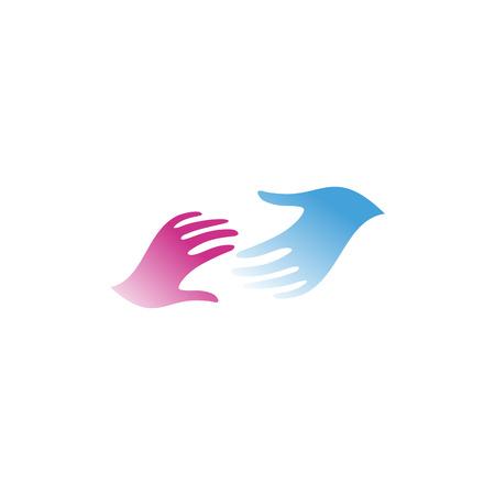 Isolé bleu et rose mains de couleur vecteur logo. Atteindre l'homme et femme, mains, illustration vectorielle. signe d'amitié internationale