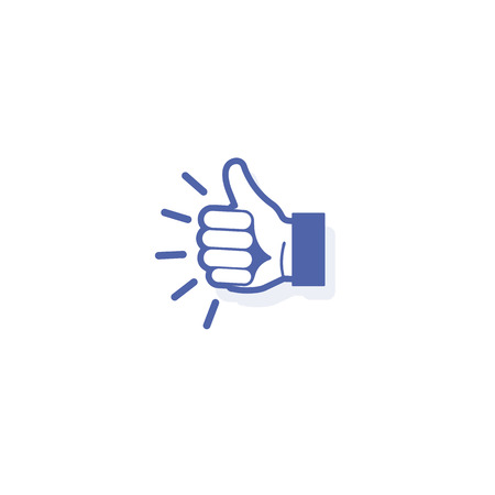 satisfactory: Isolated abstract blue color thumb up vector logo. Designed like vector illustration. Outlined human hand Illustration