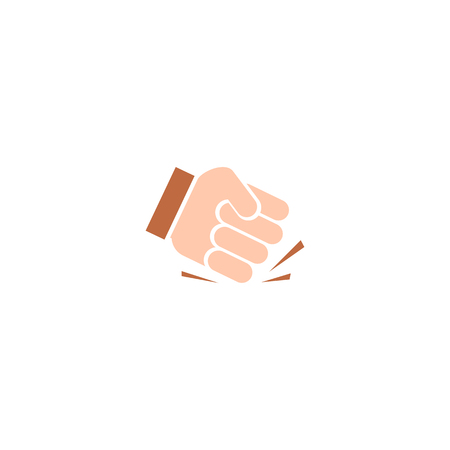 aggression: Isolated abstract pounding fist vector logo. Human hand vector illustration. Aggression sign. Protest symbol