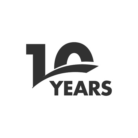 Isolated abstract 10 years anniversary vector logo. Happy 10th birthday greeting card. Black color writing on the white background