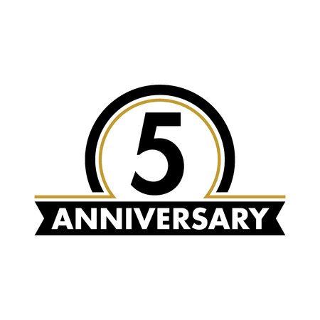 5th: Anniversary vector unusual label. Fifth anniversary symbol. 5 years birthday abstract logo. The arc in a circle. 5th jubilee