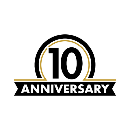 10th: Anniversary vector unusual label. Tenth anniversary symbol. 10 years birthday abstract logo. The arc in a circle. 10th jubilee