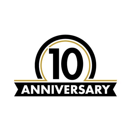 Jahrestag Vektor ungewöhnliche Label. Zehnter Jahrestag Symbol. 10 Jahre Geburtstag abstrakt Logo. Der Lichtbogen in einem Kreis. 10-jähriges Jubiläum