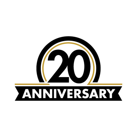Anniversary vector unusual label. Twentieth anniversary symbol. 20 years birthday abstract logo. The arc in a circle. 20th jubilee Vettoriali