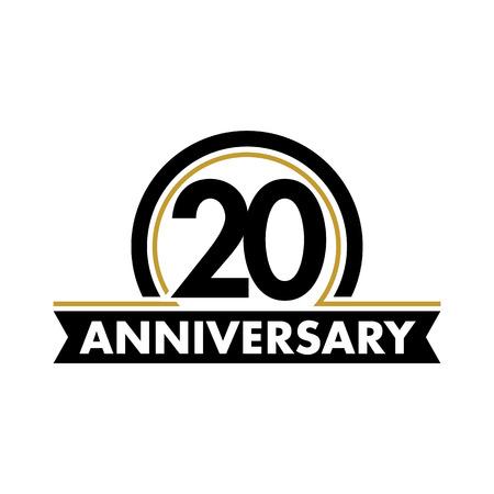 vector de la etiqueta aniversario inusual. símbolo vigésimo aniversario. 20 años de cumpleaños logotipo abstracto. El arco en un círculo. 20 de jubileo