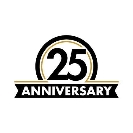 Anniversary vector unusual label. Twenty-fifth anniversary symbol. 25 years birthday abstract logo. The arc in a circle. 25th jubilee