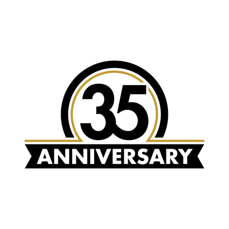 35th: Anniversary vector unusual label. Thirty-fifth anniversary symbol. 35 years birthday abstract logo. The arc in a circle. 35th jubilee