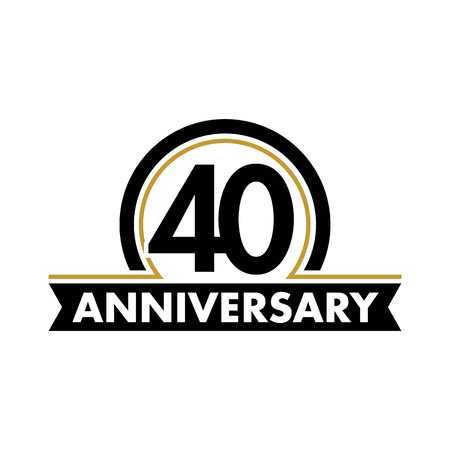 40 years: Anniversary vector unusual label. Fortieth anniversary symbol. 40 years birthday abstract logo. The arc in a circle. 40th jubilee