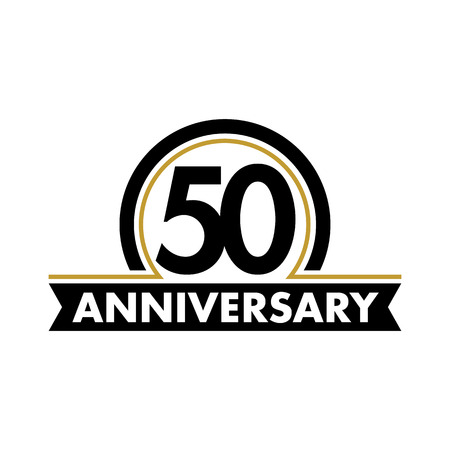 Anniversary vector unusual label. Fiftieth anniversary symbol. 50 years birthday abstract logo. The arc in a circle. 50th jubilee Vettoriali