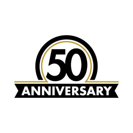 Jahrestag Vektor ungewöhnliche Label. Fünfzigsten Jahrestag Symbol. 50 Jahre Geburtstag abstrakt Logo. Der Lichtbogen in einem Kreis. 50. Jubiläum