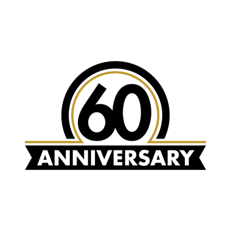 Anniversary vector unusual label. Sixtieth anniversary symbol. 60 years birthday abstract logo. The arc in a circle. 60th jubilee Vettoriali