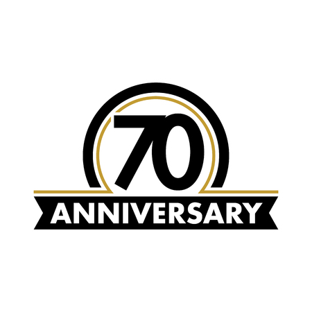 Anniversary vector unusual label. Seventieth anniversary symbol. 70 years birthday abstract logo. The arc in a circle. 70th jubilee Illustration