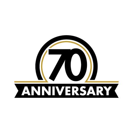 insignias: vector de la etiqueta aniversario inusual. símbolo setenta aniversario. 70 años de cumpleaños logotipo abstracto. El arco en un círculo. jubileo 70a Vectores
